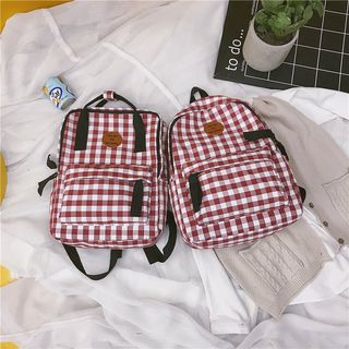 Golden Kelly - Canvas Plaid Triple Inner Pockets Backpack