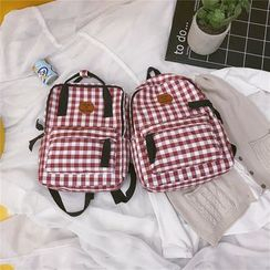 Golden Kelly - Canvas Plaid Triple Inner Pockets Backpack