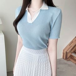 MyFiona - Contrast-Collar Ribbed Knit Top