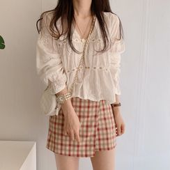 Accola - Floral Embroidery Long-Sleeve Blouse / Plaid Mini A-Line Skirt