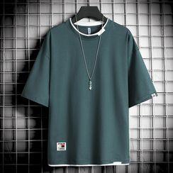 Sindel - Plain Elbow-Sleeve T-Shirt