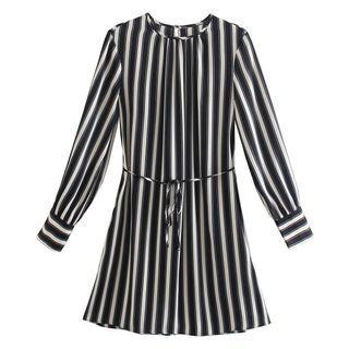 Starsavvy(スターサヴィー) - Long-Sleeve Striped Mini A-Line Dress