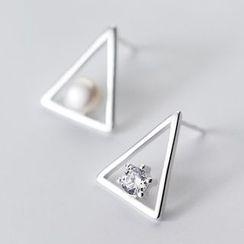 A'ROCH - 925 Sterling Silver Triangle Rhinestone Earring