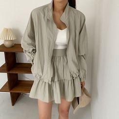 Seoul Fashion(ソウルファッション) - High-Neck Windbreaker Jacket