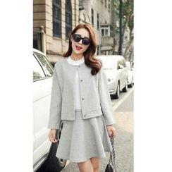 Romantica - Set: Plain Snap-Button Jacket + Plain A-Line Skirt