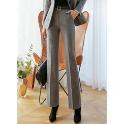 Styleonme - Flat-Front Napped Boot-Cut Pants