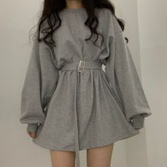 MIKIGA - Belted Long-Sleeve Oversize Mini Dress