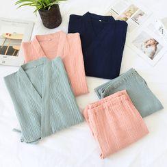 MelMount - Couple Matching Pajama Set: Kimono Top + Pants