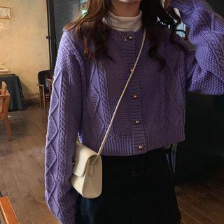 Ashlee - Long-Sleeve Plain Argyle Pattern Cropped cardigan