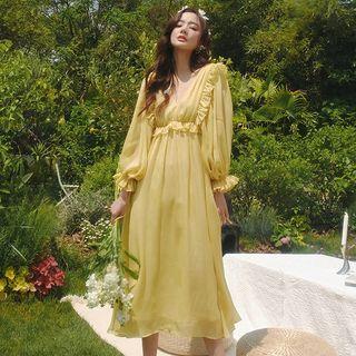 Sincethen - V-Neck Ruffle Trim Midi A-Line Dress