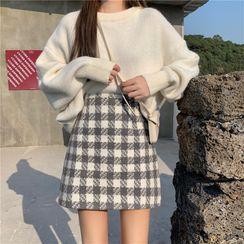 Fabricino - Plaid Mini A-Line Skirt