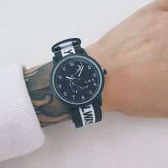InShop Watches - Moon & Star Print Lettering Strap Watch
