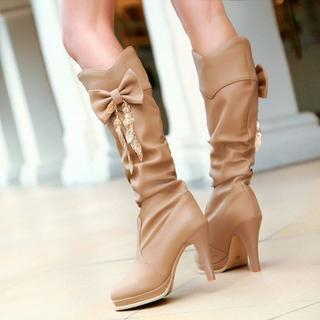 Shoes Galore - Bow Accent Platform Heeled Boots
