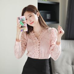 MyFiona - V-Neck Crochet-Trim Lace Blouse