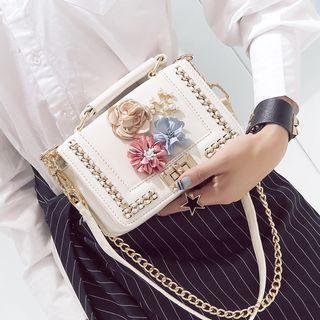 Aishang - Faux Leather Floral Applique Handbag