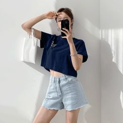 PPGIRL - Fray-Hem Denim Shorts