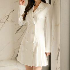Kokuko - Double-Breasted Mini A-Line Coat Dress