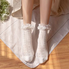 Lucky Nine - Lace Trim Pointelle Socks