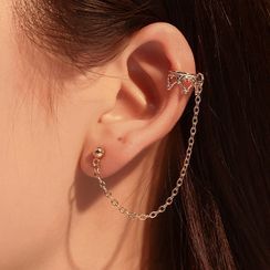 Cheermo - Chained Earring with Crown Cuff