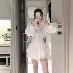 Saccharine - Set: Long-Sleeve Button-Up Blouse + High-Waist Wide Leg Shorts