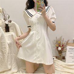 Malnia Home - Striped Sailor Collar Puff Sleeve A-Line Shirtdress