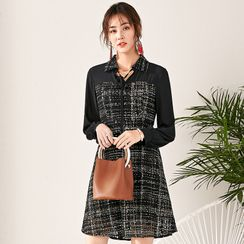 SUOLIMEIYIZU - Chiffon Panel Long-Sleeve Mini A-Line Tweed Dress