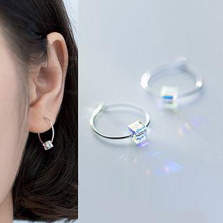 A'ROCH - 925 Sterling Silver Rhinestone Cube Hoop Earrings