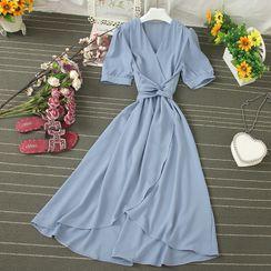Knutsford - V-Neck Tie-Waist Midi A-Line Dress