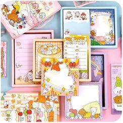 Momoi - Set: Cartoon Print Memo Pad + Sticker