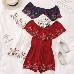 BDARE - Off-Shoulder Embroidery Playsuit