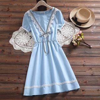 Fancy Show - Short-Sleeve Lace Trim A-Line Dress