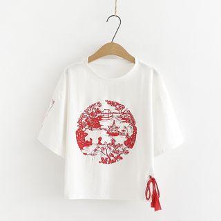 PANDAGO - 吊苏印花中袖T裇