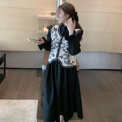 OUREA(アウレア) - Long-Sleeve Midi A-Line Dress / Embroidered Knit Vest
