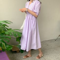 FROMBEGINNING - Puff-Sleeve Long Wrap Dress