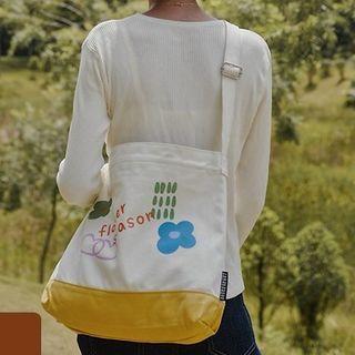 wallFLOWERz - Flower Print Canvas Crossbody Bag