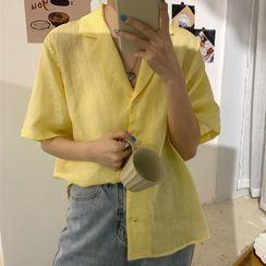 Dute - Notch Lapel Elbow-Sleeve Shirt