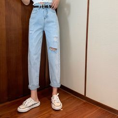 Be Bonita - Short-Sleeve Cropped Knit Top / Washed Ripped Harem Jeans