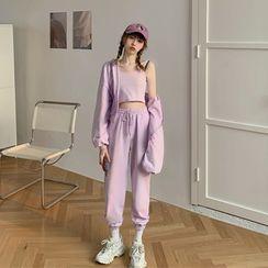 Vallepop - 运动风纯色小吊带 / 外套 / 长裤