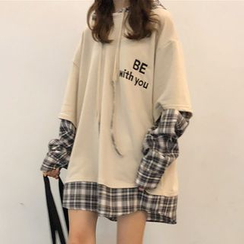 Melon Juice - Mock Two-Piece Plaid Hoodie Dress