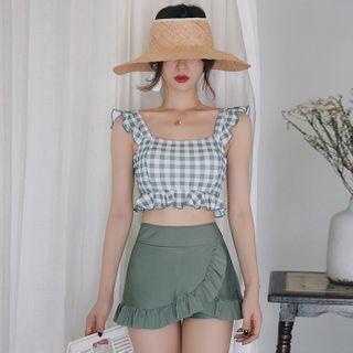 DOVII - 套裝: 格子坦基尼泳衣上衣 + 荷葉邊游泳裙褲