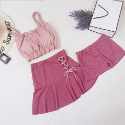 ASUMM - 套裝: 坦基尼泳衣上衣 + 繫帶泳裙 + 游泳短褲