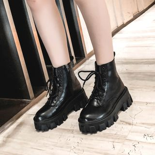 Aneka - Lace-Up Platform Short Boots