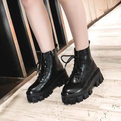 Aneka - Lace-Up Platform Short Boots
