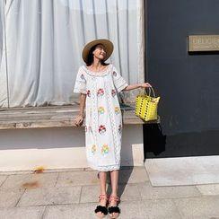 Glaypio - Short-Sleeve Lace Embroidered Dress