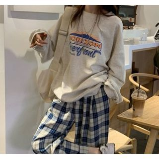 Smiler - Plaid Wide-Leg Pants / Printed Sweatshirt