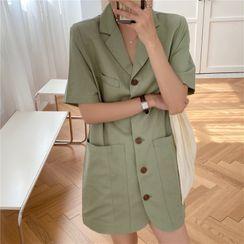 Czarine - Short-Sleeve Single Breasted Coat Dress