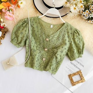 Lucuna - Balloon-Sleeve Cropped Lace Blouse