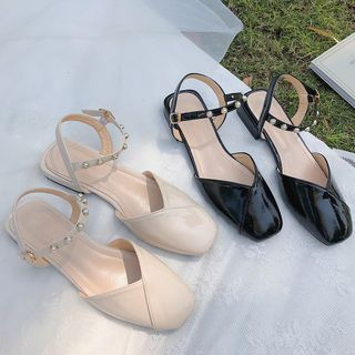 SouthBay Shoes - Block Heel Faux Pearl Ankle Strap Mules