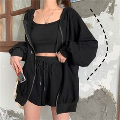 Astarte - Set: Zip-Up Hoodie + Wide-Leg Shorts + Cropped Camisole