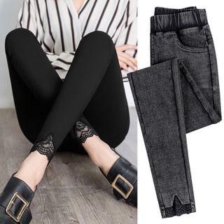 Sugar Power - Lace Panel Skinny Pants
